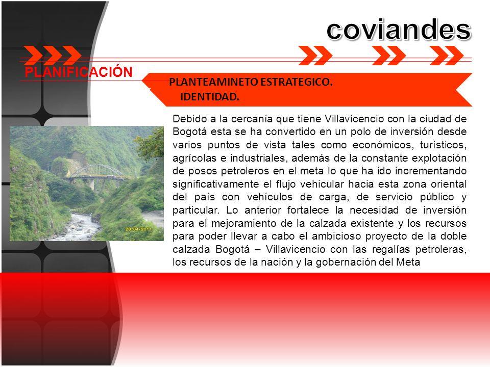 PLANIFICACIÓN PLANTEAMINETO ESTRATEGICO. IDENTIDAD. Debido a la cercanía que tiene Villavicencio con la ciudad de Bogotá esta se ha convertido en un p