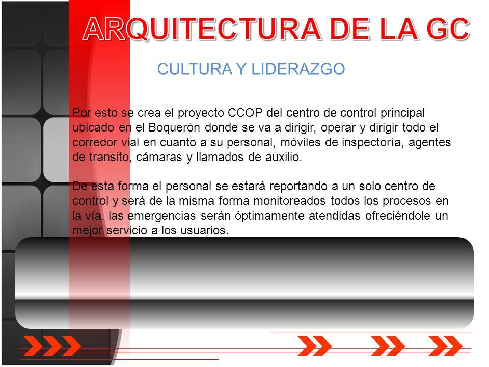 CULTURA Y LIDERAZGO Por esto se crea el proyecto CCOP del centro de control principal ubicado en el Boquerón donde se va a dirigir, operar y dirigir t