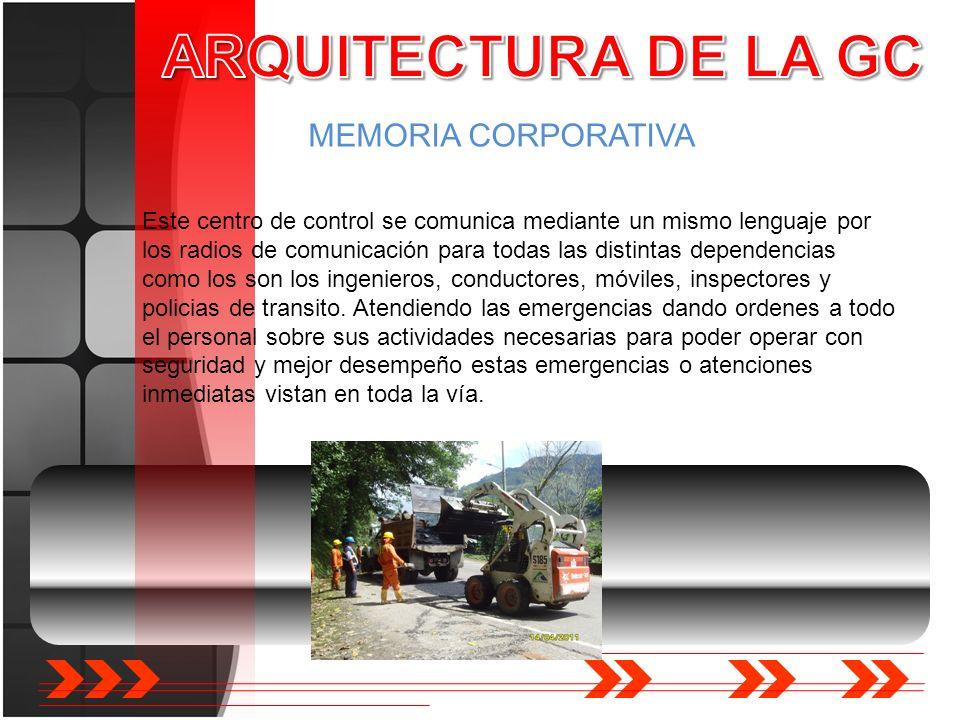 MEMORIA CORPORATIVA Este centro de control se comunica mediante un mismo lenguaje por los radios de comunicación para todas las distintas dependencias