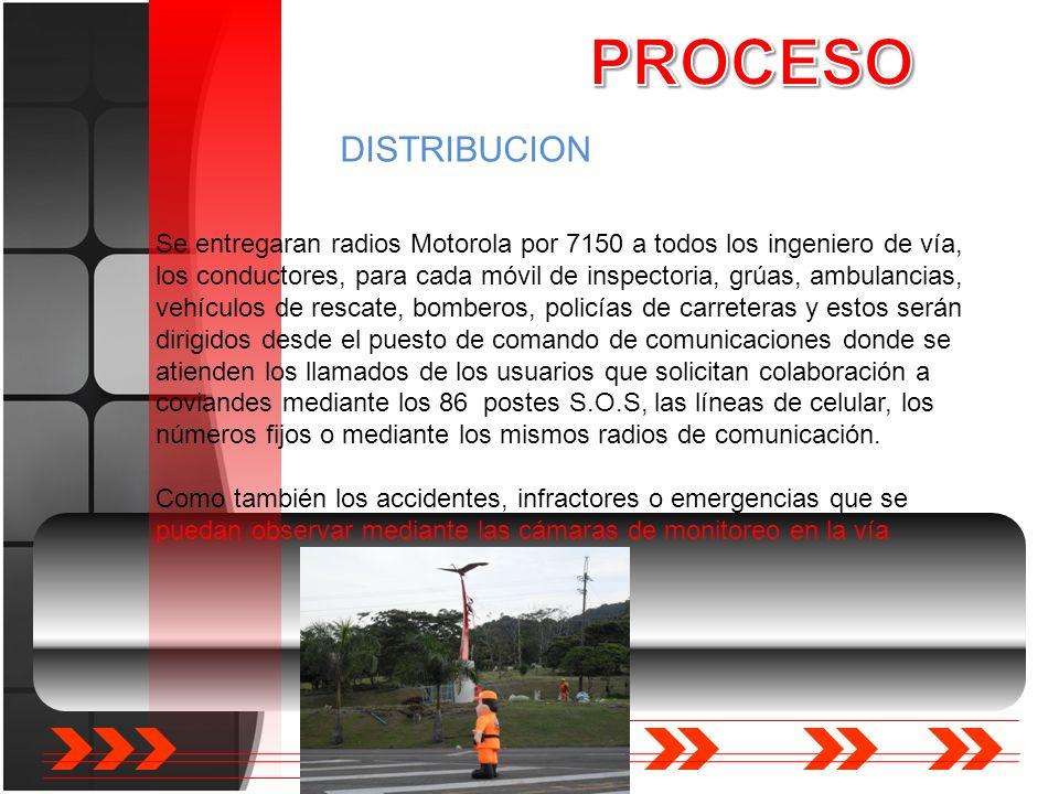 DISTRIBUCION Se entregaran radios Motorola por 7150 a todos los ingeniero de vía, los conductores, para cada móvil de inspectoria, grúas, ambulancias,