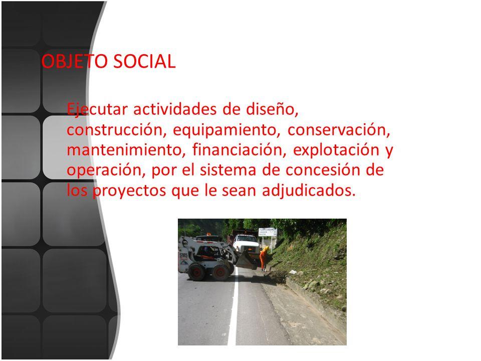 OBJETO SOCIAL Ejecutar actividades de diseño, construcción, equipamiento, conservación, mantenimiento, financiación, explotación y operación, por el s