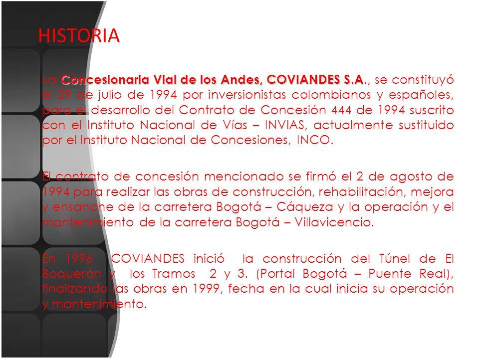 HISTORIA Concesionaria Vial de los Andes, COVIANDES S.A La Concesionaria Vial de los Andes, COVIANDES S.A., se constituyó el 29 de julio de 1994 por i