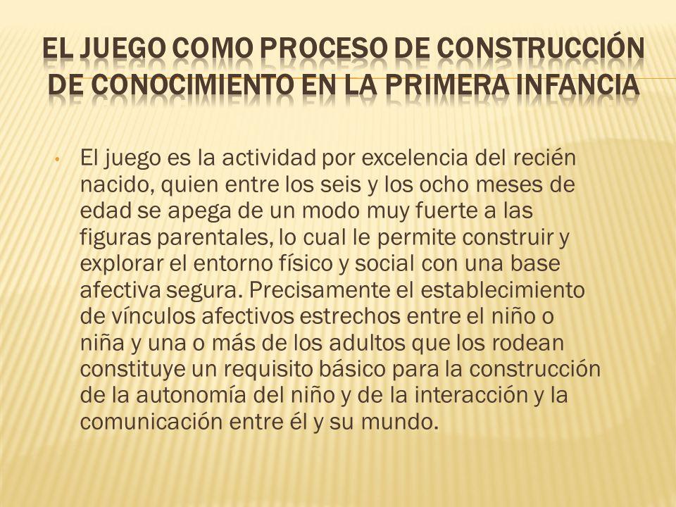 El juego es la actividad por excelencia del recién nacido, quien entre los seis y los ocho meses de edad se apega de un modo muy fuerte a las figuras