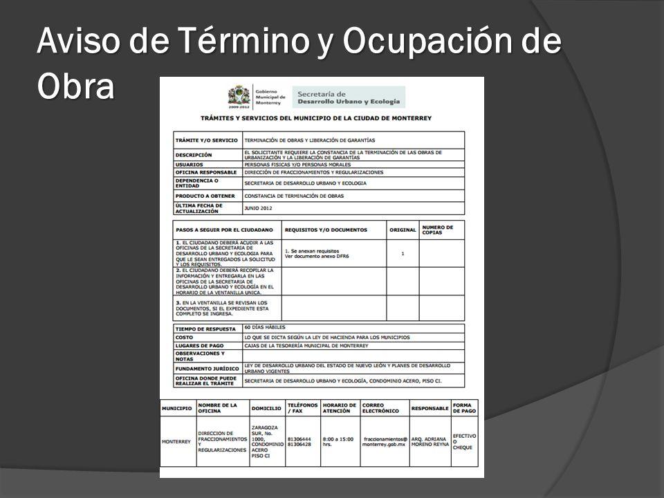 Aviso de Término y Ocupación de Obra