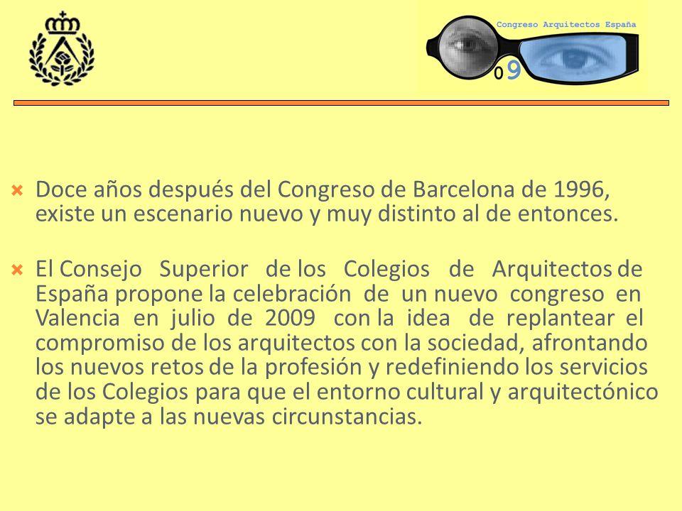 Doce años después del Congreso de Barcelona de 1996, existe un escenario nuevo y muy distinto al de entonces. El Consejo Superior de los Colegios de A