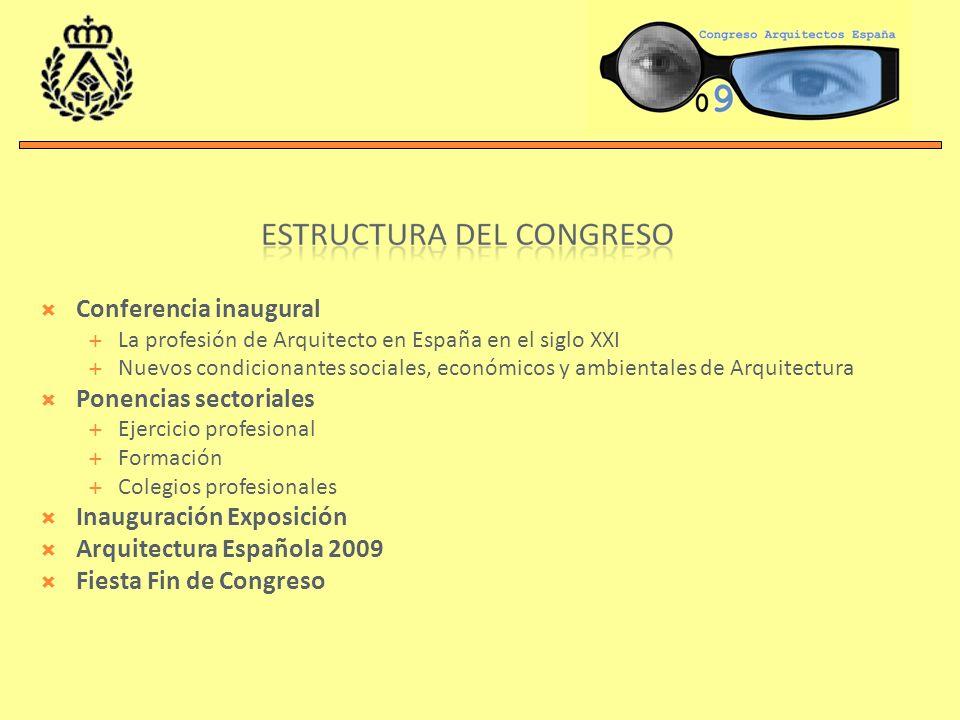 Conferencia inaugural La profesión de Arquitecto en España en el siglo XXI Nuevos condicionantes sociales, económicos y ambientales de Arquitectura Ponencias sectoriales Ejercicio profesional Formación Colegios profesionales Inauguración Exposición Arquitectura Española 2009 Fiesta Fin de Congreso