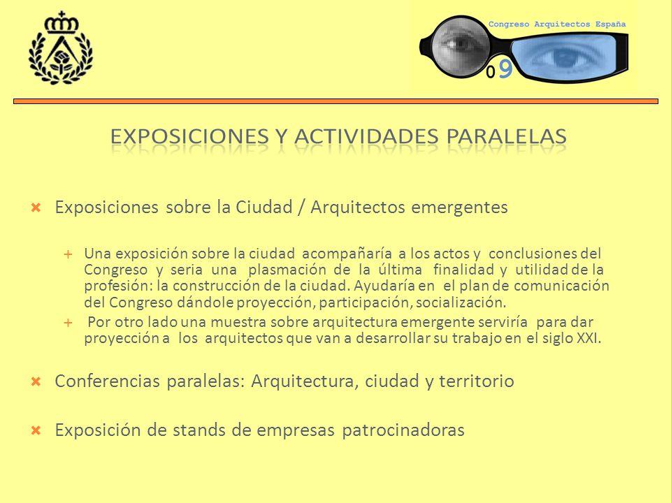 Exposiciones sobre la Ciudad / Arquitectos emergentes Una exposición sobre la ciudad acompañaría a los actos y conclusiones del Congreso y seria una p