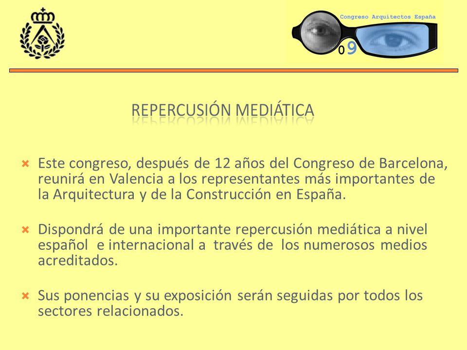 Este congreso, después de 12 años del Congreso de Barcelona, reunirá en Valencia a los representantes más importantes de la Arquitectura y de la Construcción en España.