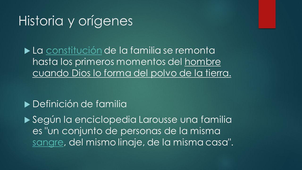Historia y orígenes La constitución de la familia se remonta hasta los primeros momentos del hombre cuando Dios lo forma del polvo de la tierra.consti