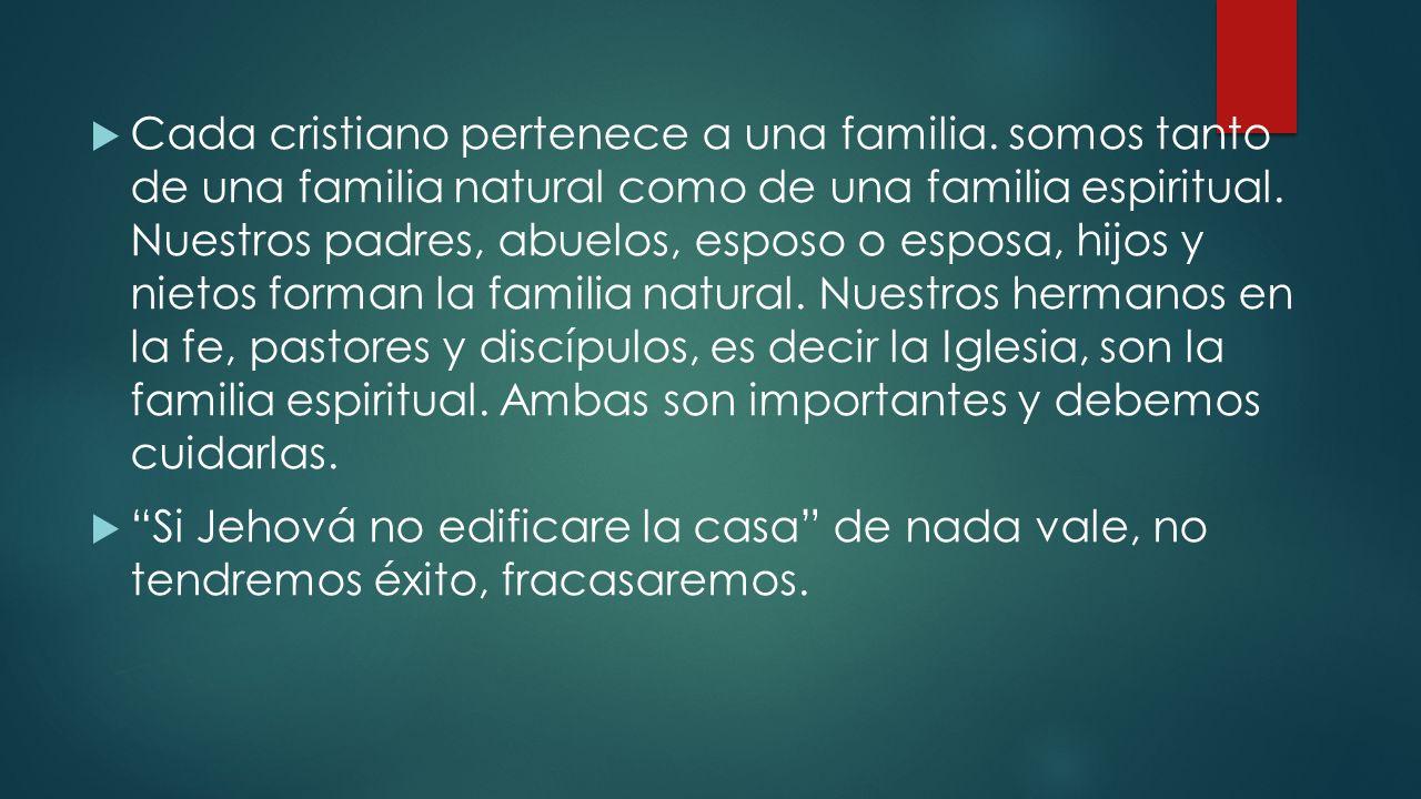Cada cristiano pertenece a una familia. somos tanto de una familia natural como de una familia espiritual. Nuestros padres, abuelos, esposo o esposa,