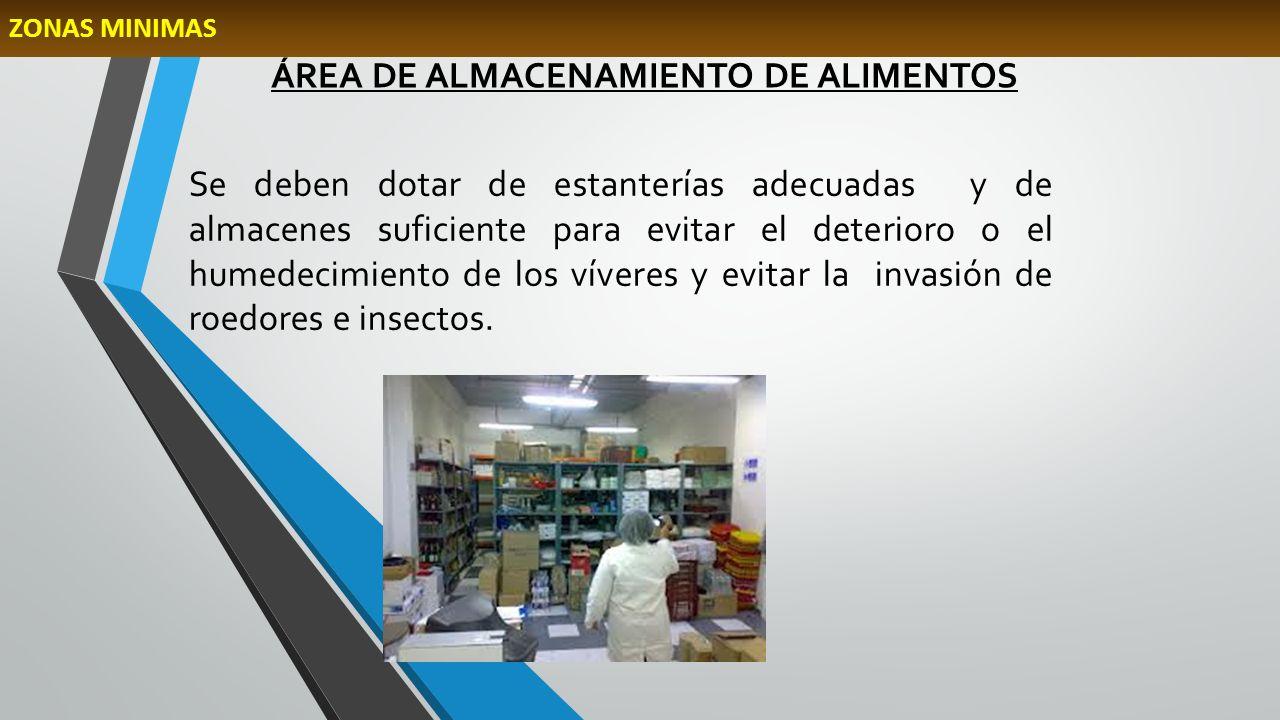 ÁREA DE ALMACENAMIENTO DE ALIMENTOS Se deben dotar de estanterías adecuadas y de almacenes suficiente para evitar el deterioro o el humedecimiento de