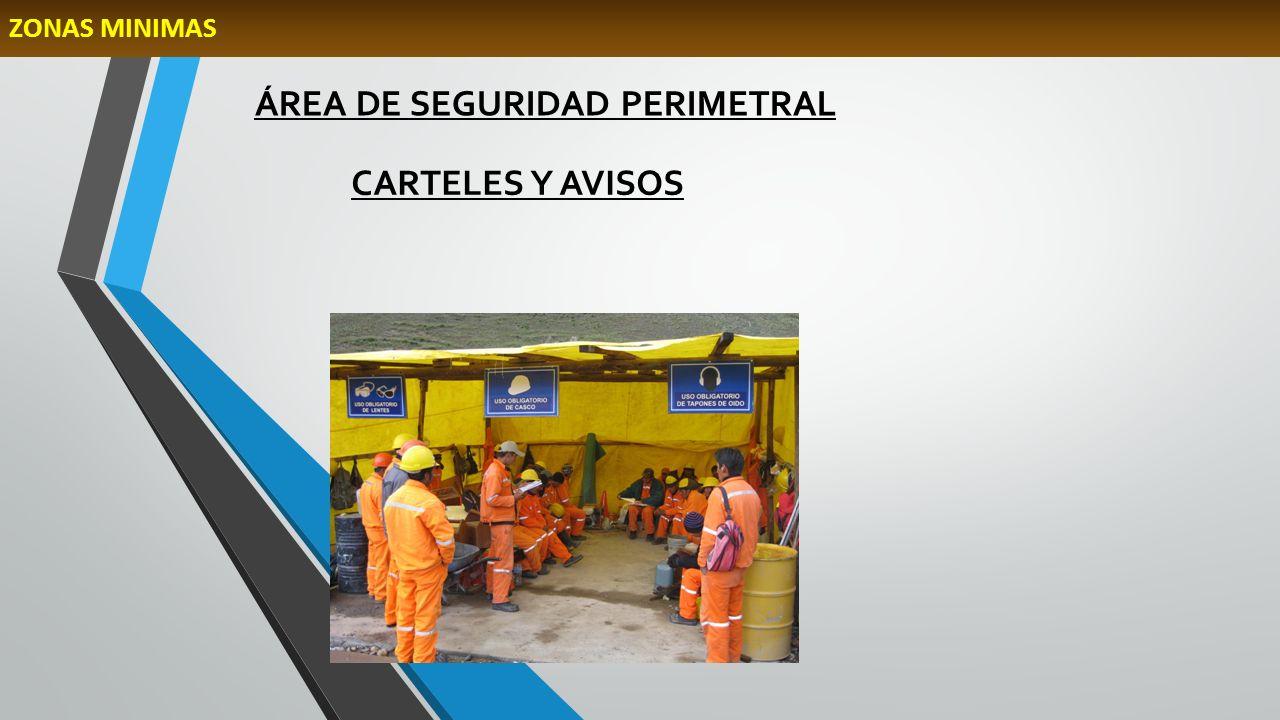 ÁREA DE SEGURIDAD PERIMETRAL CARTELES Y AVISOS ZONAS MINIMAS
