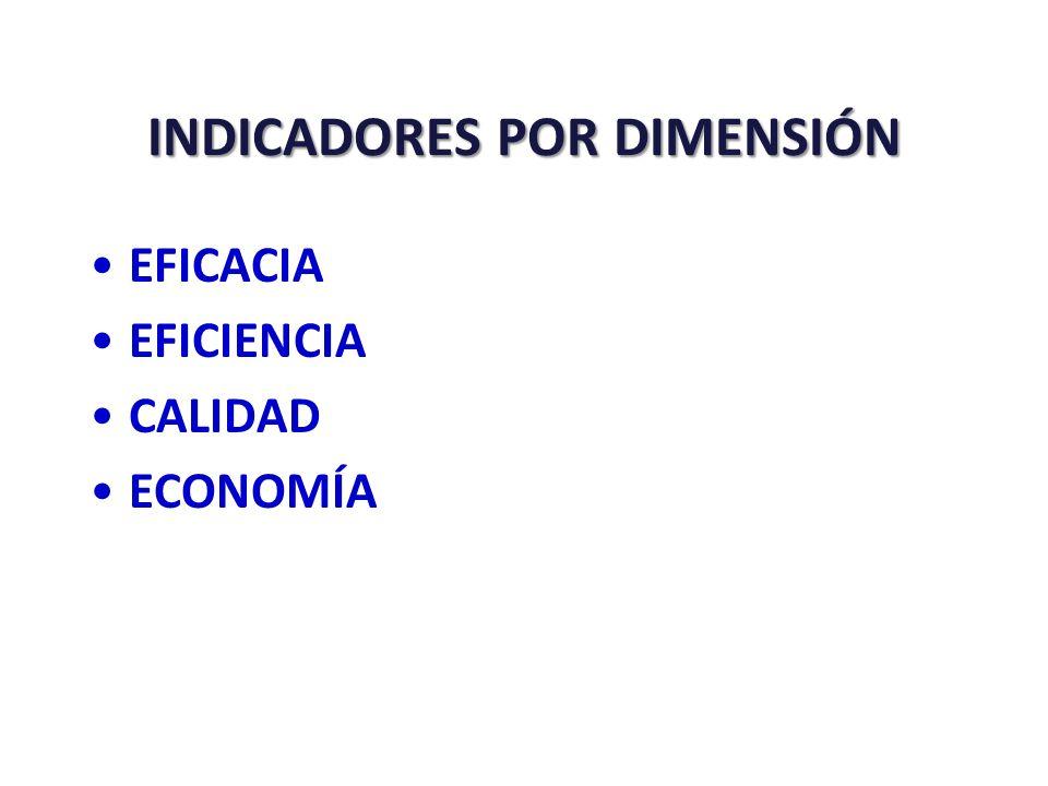 INDICADORES POR ÁMBITOS Y DIMENSIONES EFICACIA EFICACIA, EFICIENCIA ECONOMÍA ECONOMÍA EFICACIA, EFICIENCIA, CALIDAD, insumos DIMENSIONES