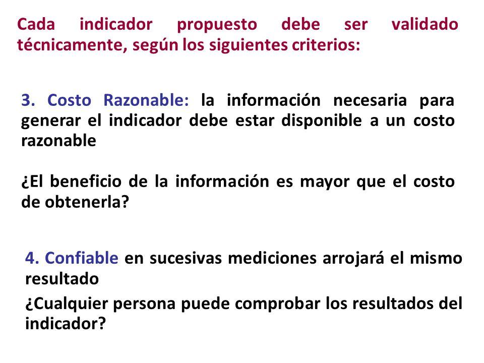 Cada indicador propuesto debe ser validado técnicamente, según los siguientes criterios: 3.