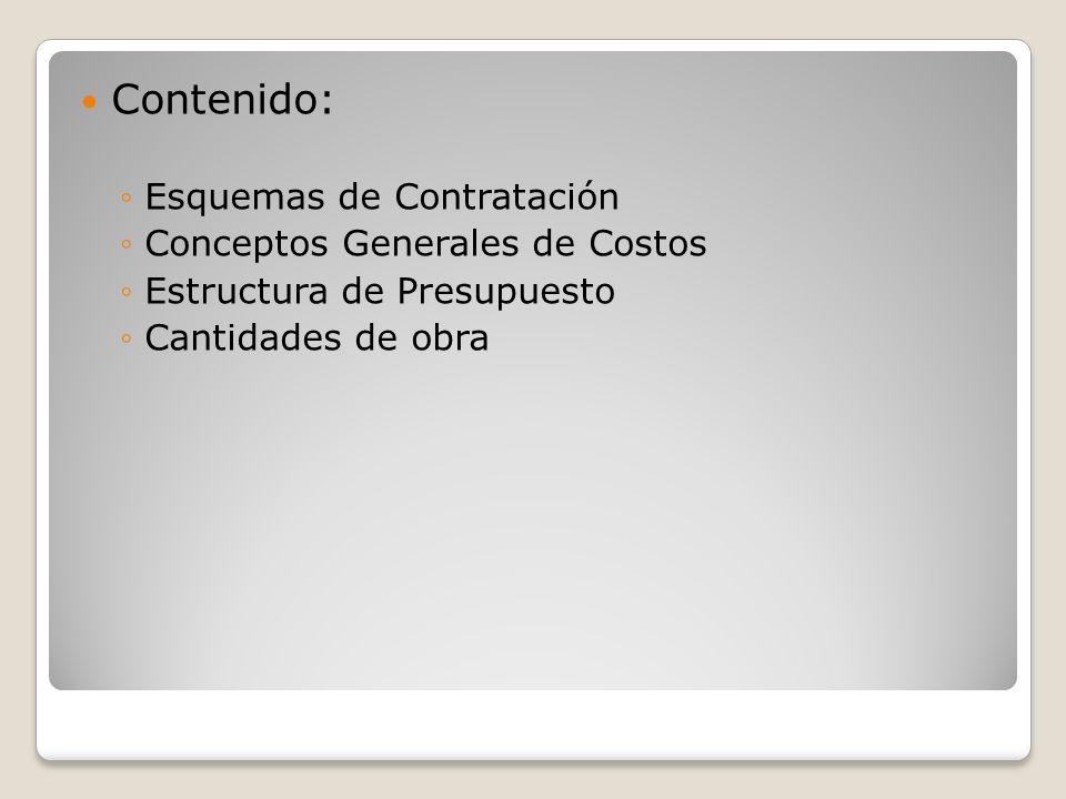 Esquemas de Contratación Tradicional Diseño-concurso-construcción Llave en mano Diseño/construcción Gerencia de Proyectos