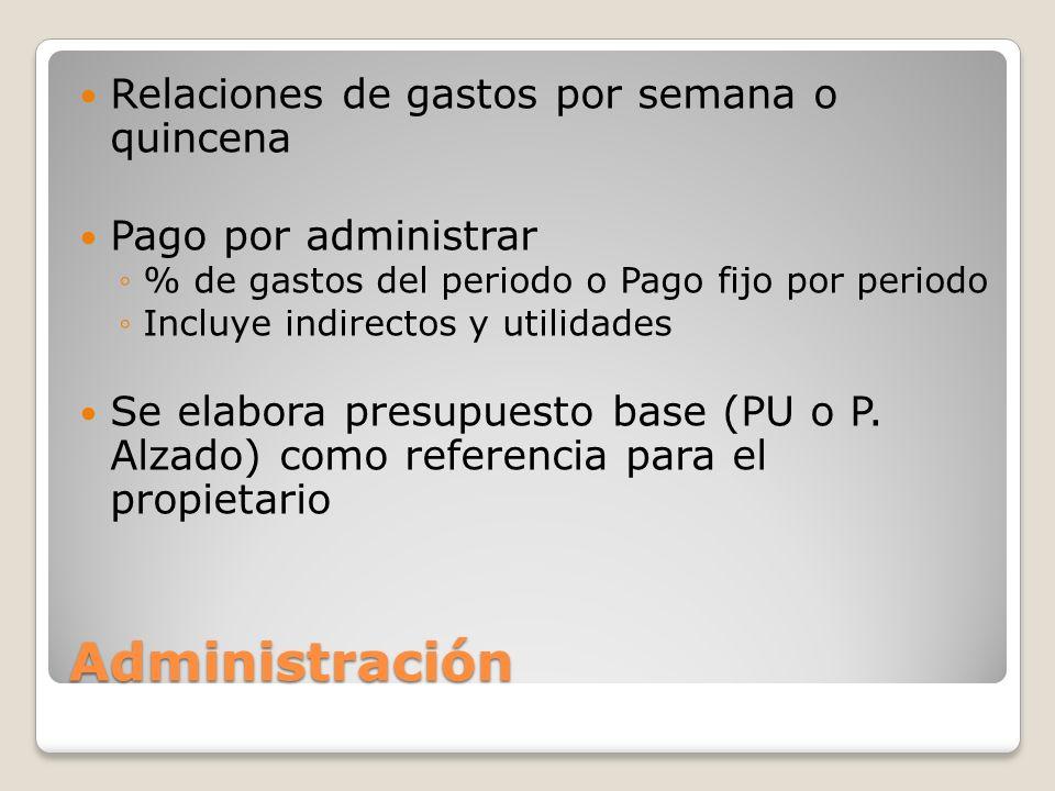 Administración Relaciones de gastos por semana o quincena Pago por administrar % de gastos del periodo o Pago fijo por periodo Incluye indirectos y ut
