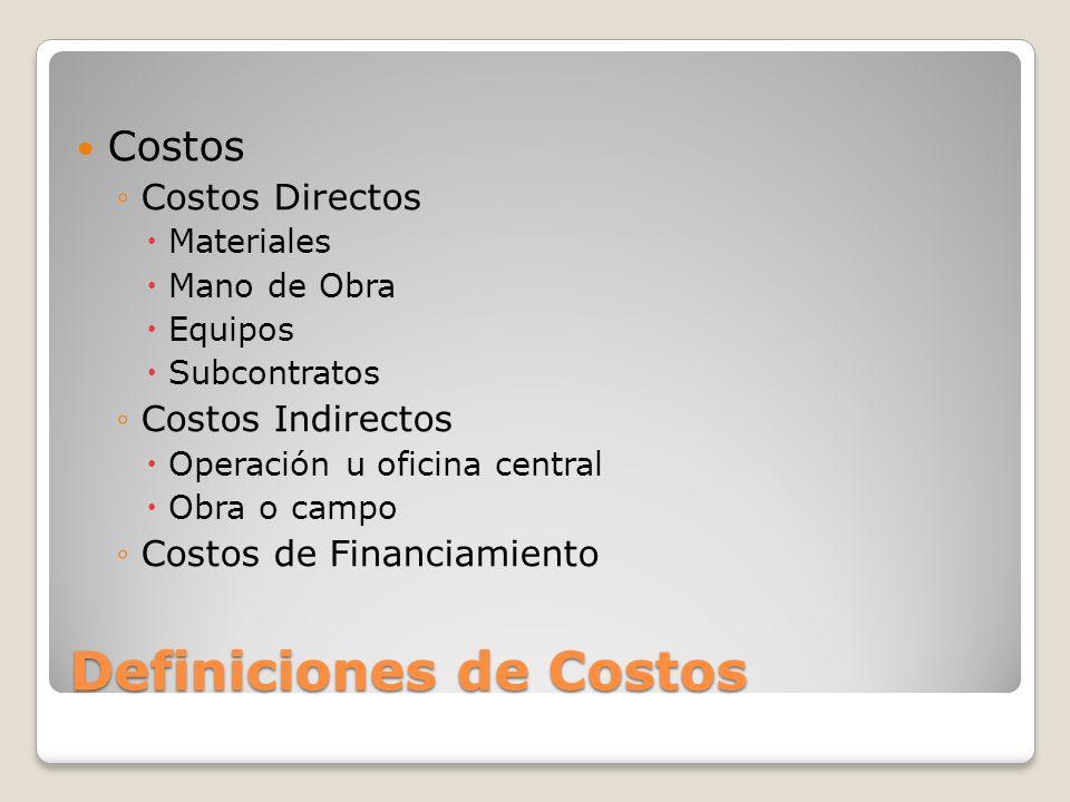 Definiciones de Costos Costos Costos Directos Materiales Mano de Obra Equipos Subcontratos Costos Indirectos Operación u oficina central Obra o campo