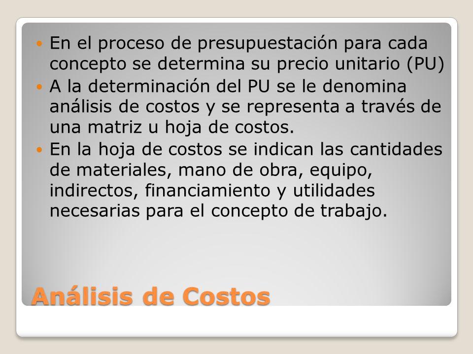 Análisis de Costos En el proceso de presupuestación para cada concepto se determina su precio unitario (PU) A la determinación del PU se le denomina a