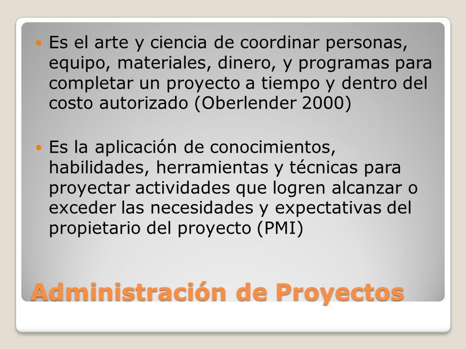 Administración de Proyectos Es el arte y ciencia de coordinar personas, equipo, materiales, dinero, y programas para completar un proyecto a tiempo y