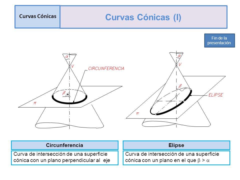 Curvas Cónicas Curvas Cónicas (I) Fin de la presentación Circunferencia Curva de intersección de una superficie cónica con un plano perpendicular al eje Elipse Curva de intersección de una superficie cónica con un plano en el que >