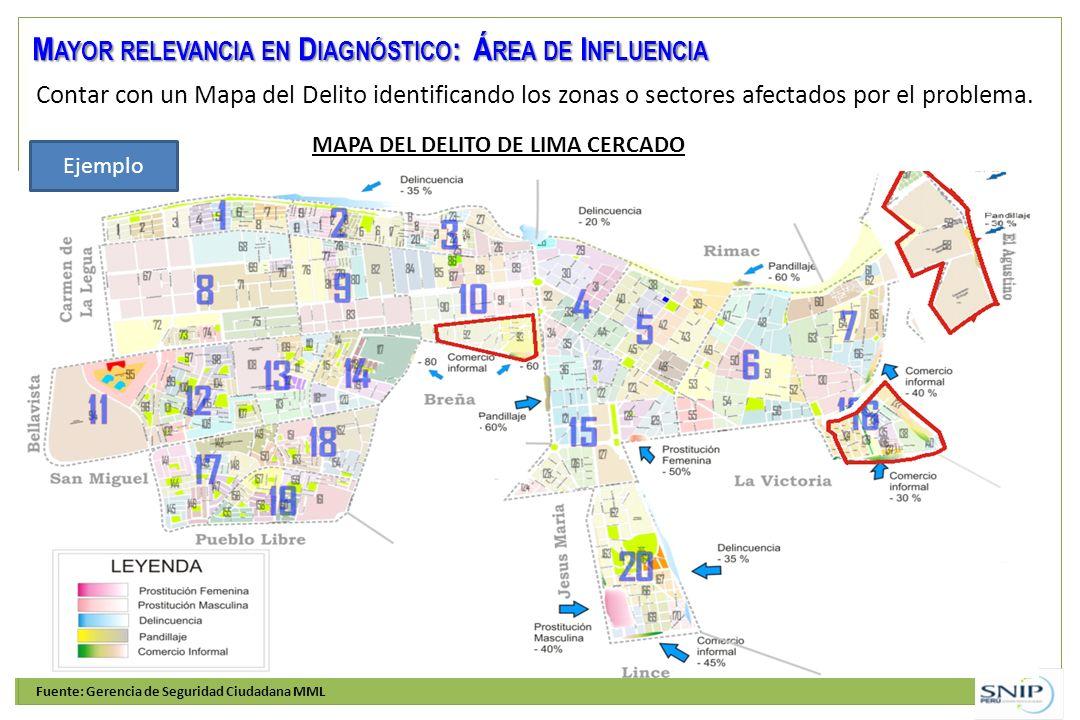 Contar con un Mapa del Delito identificando los zonas o sectores afectados por el problema. M AYOR RELEVANCIA EN D IAGNÓSTICO : Á REA DE I NFLUENCIA F