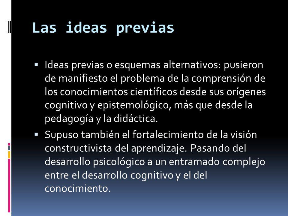Las ideas previas Ideas previas o esquemas alternativos: pusieron de manifiesto el problema de la comprensión de los conocimientos científicos desde s