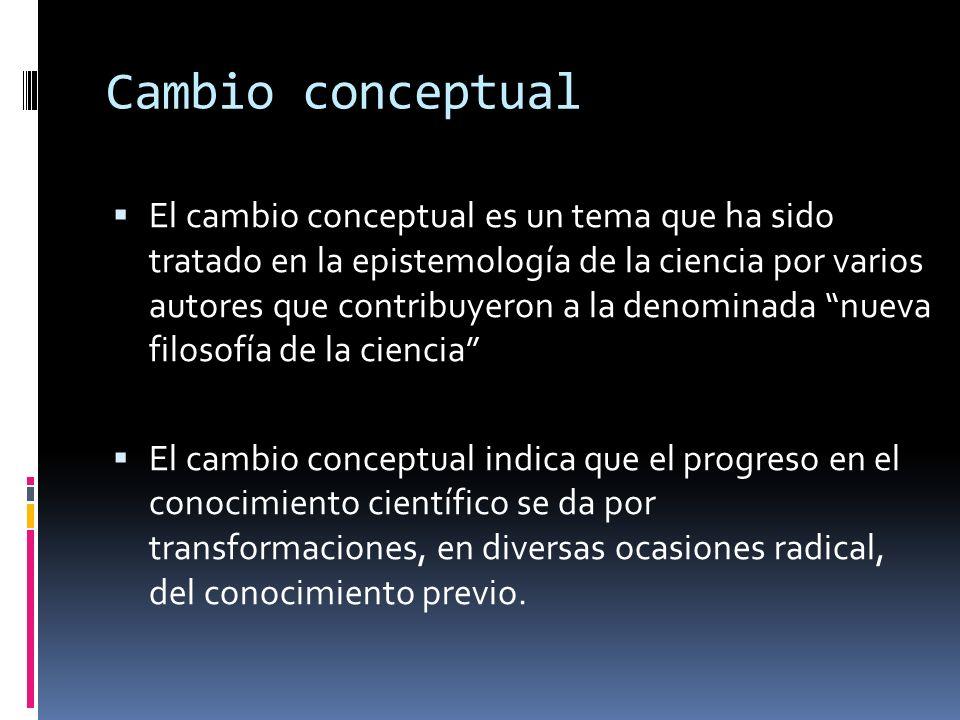 Cambio conceptual El cambio conceptual es un tema que ha sido tratado en la epistemología de la ciencia por varios autores que contribuyeron a la deno