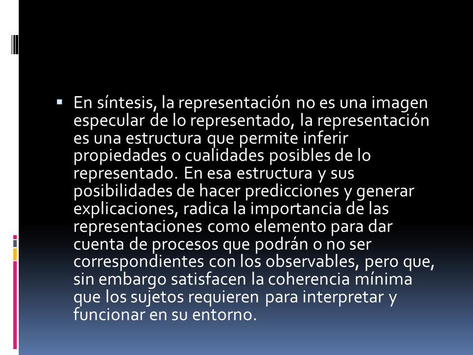 En síntesis, la representación no es una imagen especular de lo representado, la representación es una estructura que permite inferir propiedades o cu