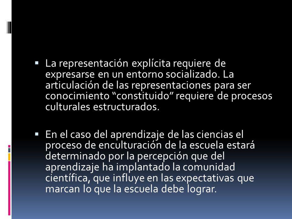 La representación explícita requiere de expresarse en un entorno socializado. La articulación de las representaciones para ser conocimiento constituid