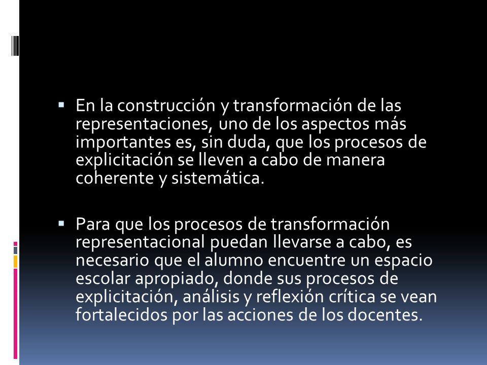 En la construcción y transformación de las representaciones, uno de los aspectos más importantes es, sin duda, que los procesos de explicitación se ll