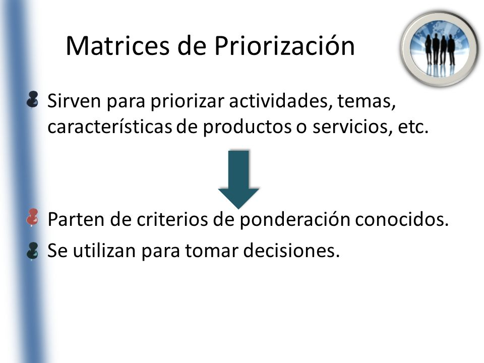 Matrices de Priorización Sirven para priorizar actividades, temas, características de productos o servicios, etc. Parten de criterios de ponderación c