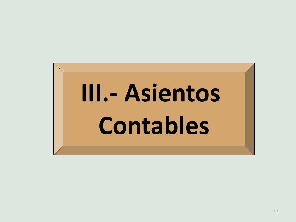 III.- Asientos Contables 12