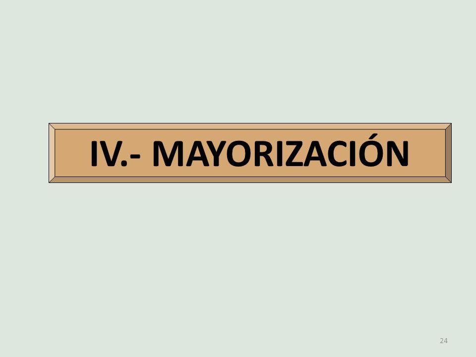 24 IV.- MAYORIZACIÓN