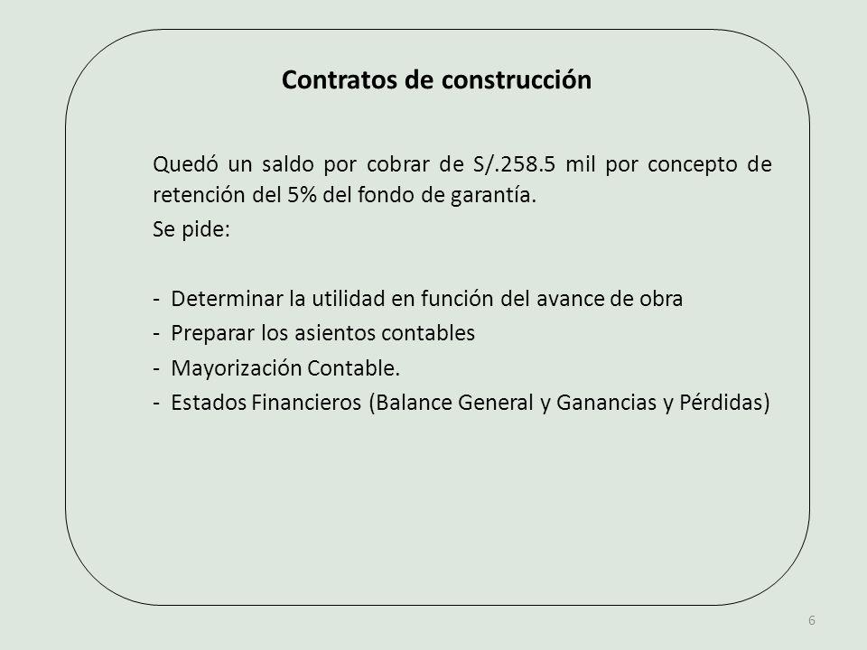 Contratos de construcción Quedó un saldo por cobrar de S/.258.5 mil por concepto de retención del 5% del fondo de garantía.