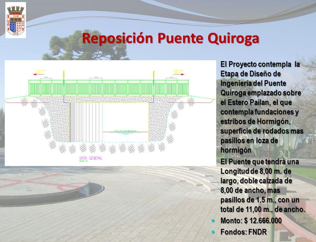 Reposición Puente Almagro El Proyecto contempla la Reposición del Puente Almagro, en estructura de hormigón, el que tendrá una Longitud de 9,80 m. de