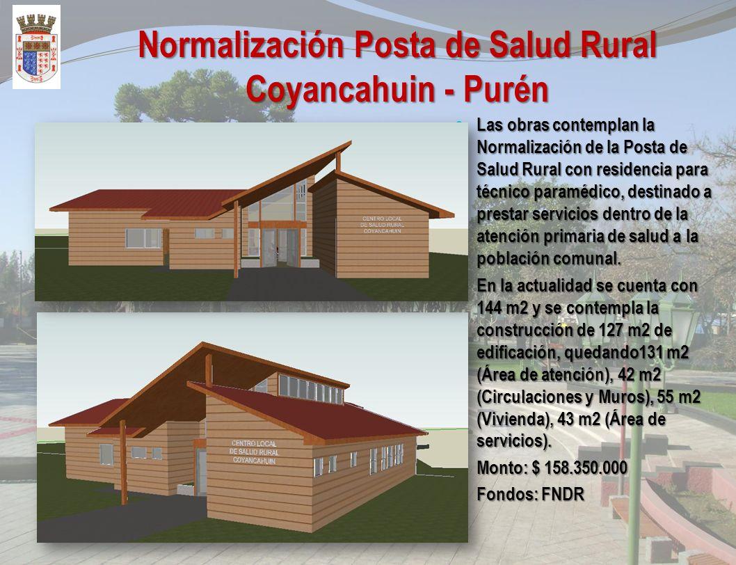 Reposición Posta de Salud rural Huitranlebu - Purén Las obras contemplan la reposición de la Posta de Salud Rural con residencia para técnico paramédi