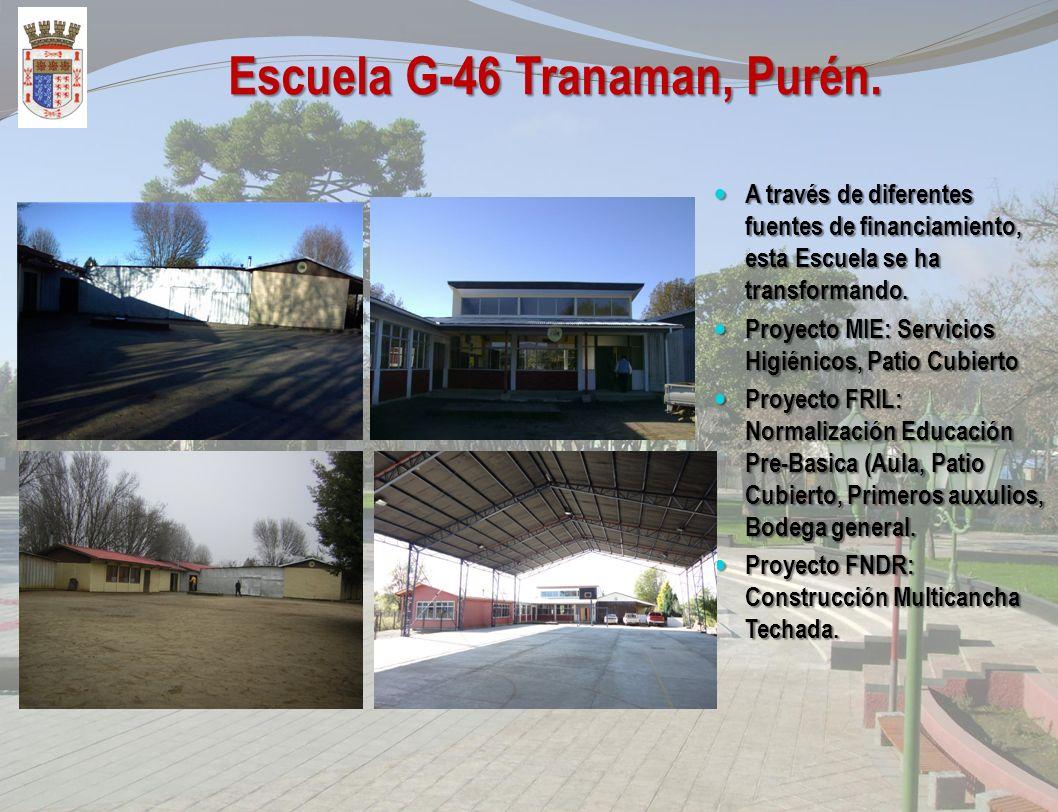 Construcción Multicancha Techada Escuela G-46 Tranaman, Purén. El Proyecto contempla la Construcción de una Multicancha Techada con 14 pilares de estr