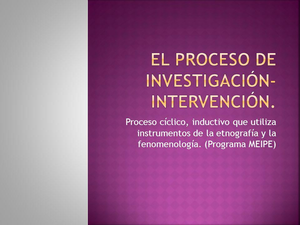Proceso cíclico, inductivo que utiliza instrumentos de la etnografía y la fenomenología. (Programa MEIPE)