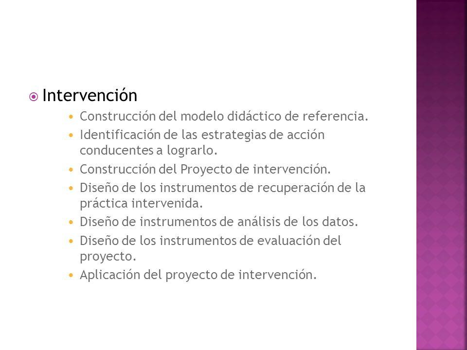 Intervención Construcción del modelo didáctico de referencia. Identificación de las estrategias de acción conducentes a lograrlo. Construcción del Pro
