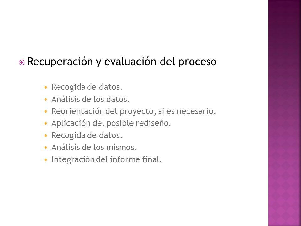Recuperación y evaluación del proceso Recogida de datos. Análisis de los datos. Reorientación del proyecto, si es necesario. Aplicación del posible re