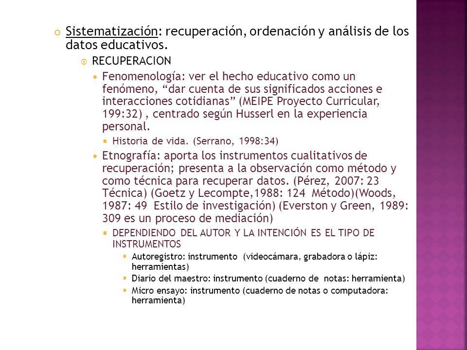 Sistematización: recuperación, ordenación y análisis de los datos educativos. RECUPERACION Fenomenología: ver el hecho educativo como un fenómeno, dar