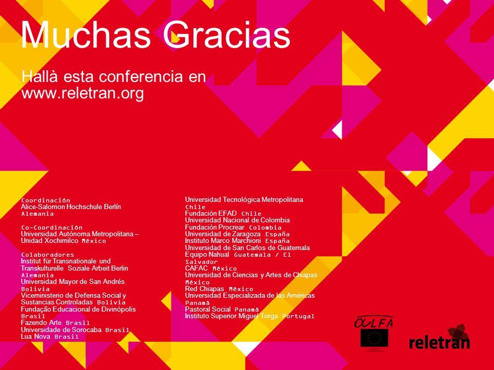 Muchas Gracias Hallà esta conferencia en www.reletran.org Coordinación Alice-Salomon Hochschule Berlín Alemania Co-Coordinación Universidad Autónoma M