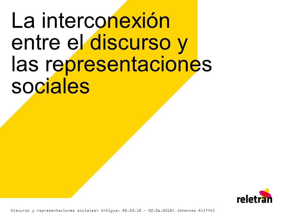 La interconexión entre el discurso y las representaciones sociales Discurso y representaciones sociales; Antigua, 28.03.12 – 02.06.2012; Johannes Knif