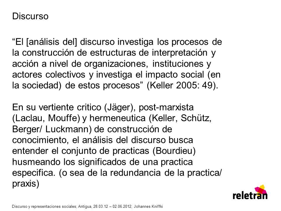 Discurso El [análisis del] discurso investiga los procesos de la construcción de estructuras de interpretación y acción a nivel de organizaciones, ins