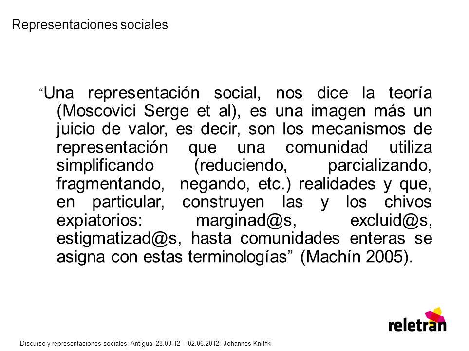 Representaciones sociales Una representación social, nos dice la teoría (Moscovici Serge et al), es una imagen más un juicio de valor, es decir, son l