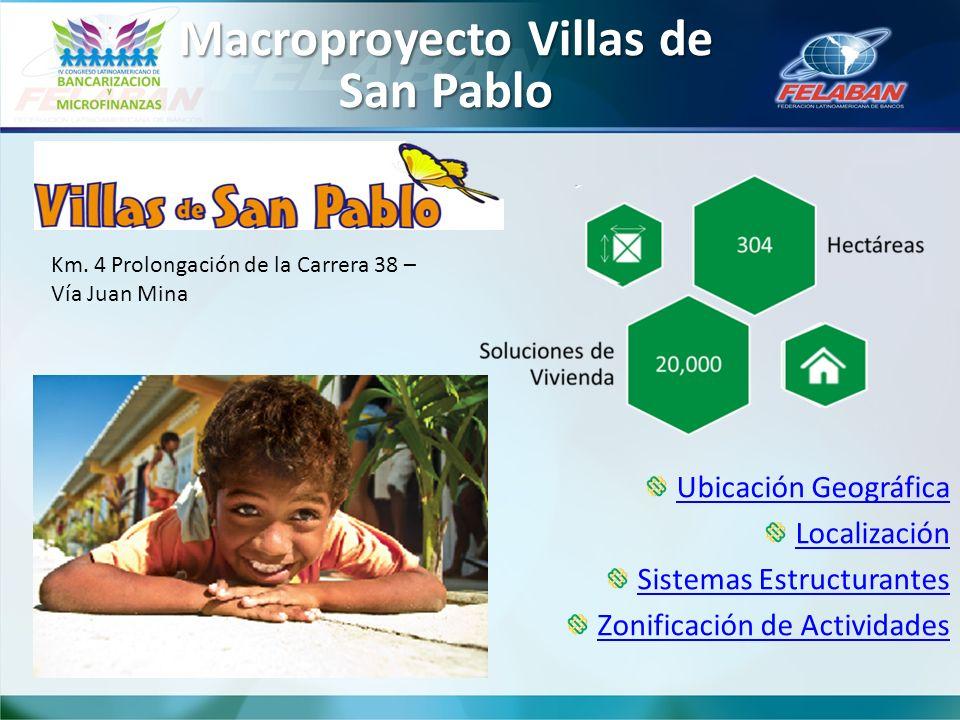 Macroproyecto Villas de San Pablo Ubicación Geográfica Localización Sistemas Estructurantes Zonificación de Actividades Km. 4 Prolongación de la Carre