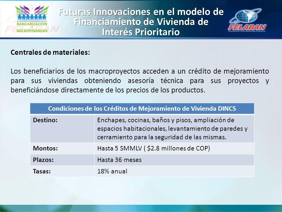Centrales de materiales: Los beneficiarios de los macroproyectos acceden a un crédito de mejoramiento para sus viviendas obteniendo asesoría técnica p