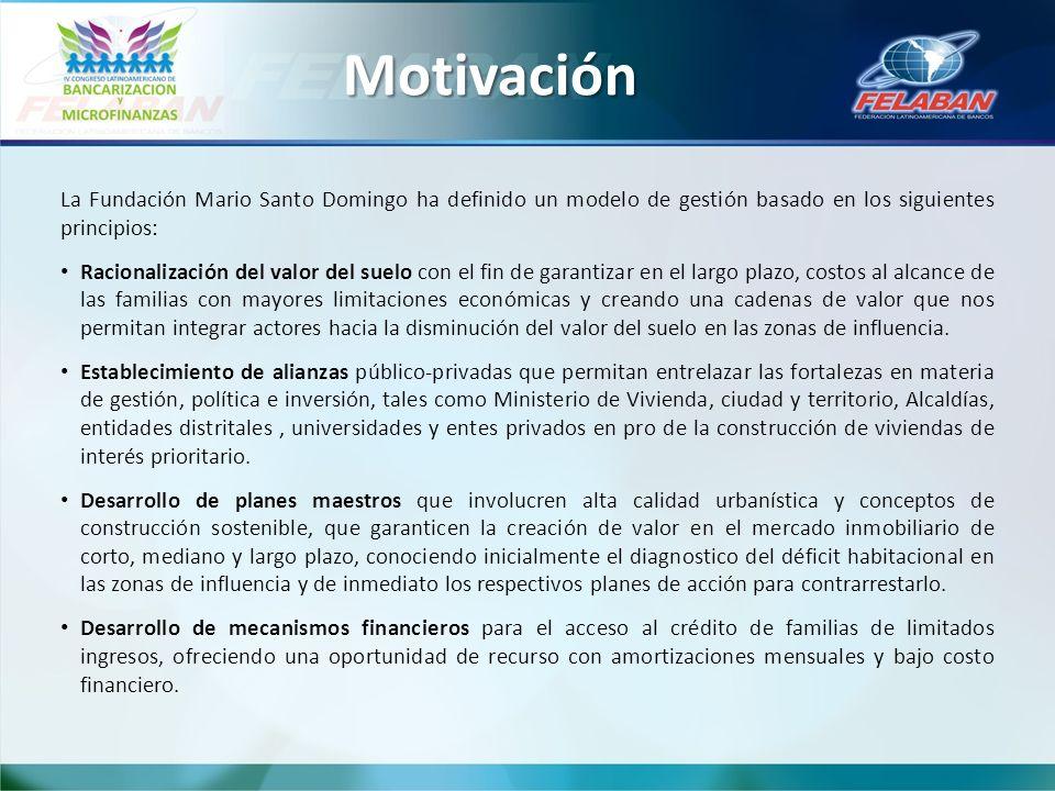 Motivación La Fundación Mario Santo Domingo ha definido un modelo de gestión basado en los siguientes principios: Racionalización del valor del suelo