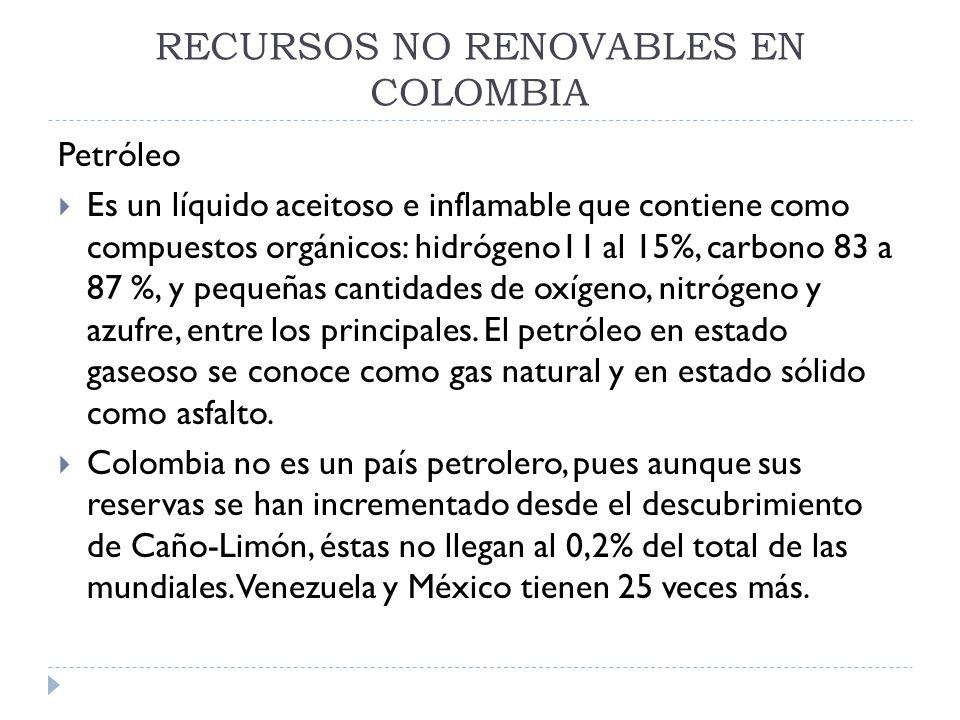 RECURSOS NO RENOVABLES EN COLOMBIA Petróleo Es un líquido aceitoso e inflamable que contiene como compuestos orgánicos: hidrógeno11 al 15%, carbono 83