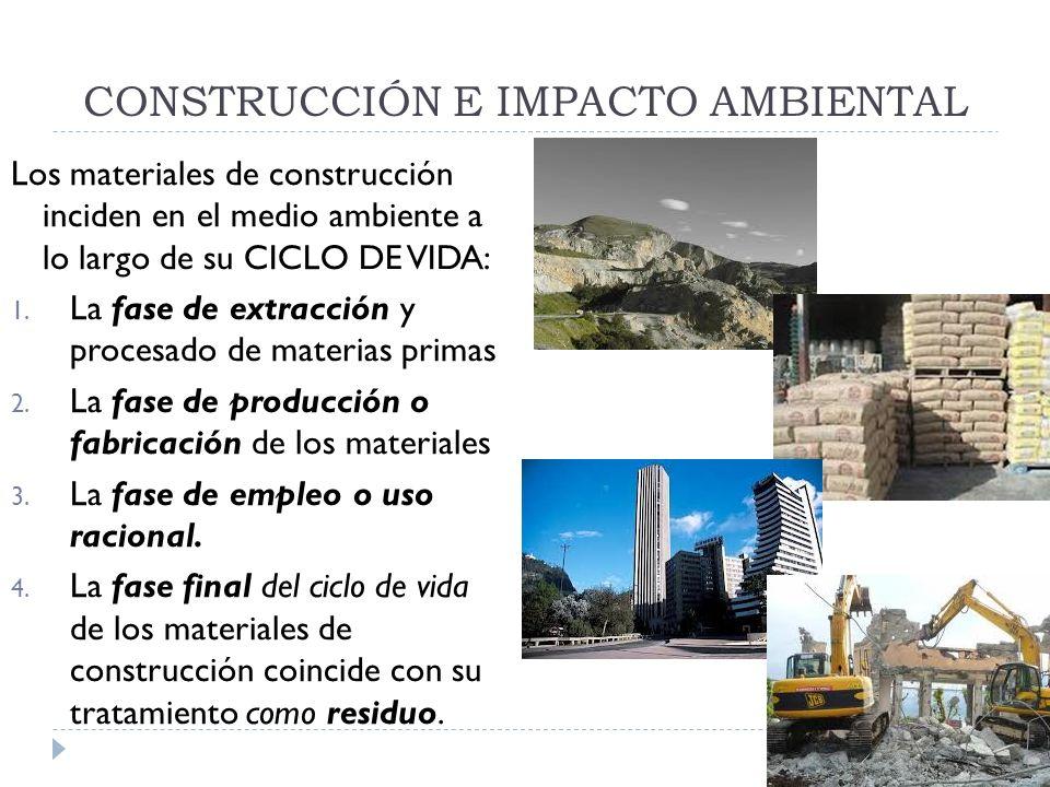CONSTRUCCIÓN E IMPACTO AMBIENTAL Los materiales de construcción inciden en el medio ambiente a lo largo de su CICLO DE VIDA: 1. La fase de extracción